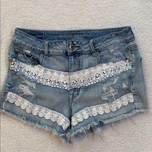 American Eagle Hi-Rise Distressed  Shortie Shorts